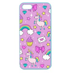 Cute Unicorn Pattern Apple Seamless Iphone 5 Case (color) by Valentinaart