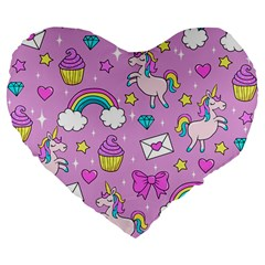 Cute Unicorn Pattern Large 19  Premium Flano Heart Shape Cushions by Valentinaart