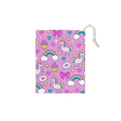 Cute Unicorn Pattern Drawstring Pouches (xs)  by Valentinaart