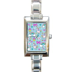 Cute Unicorn Pattern Rectangle Italian Charm Watch by Valentinaart