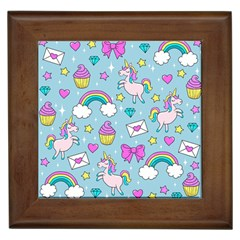 Cute Unicorn Pattern Framed Tiles by Valentinaart