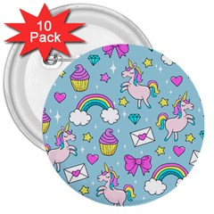 Cute Unicorn Pattern 3  Buttons (10 Pack)  by Valentinaart