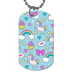 Cute Unicorn Pattern Dog Tag (two Sides) by Valentinaart