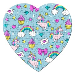 Cute Unicorn Pattern Jigsaw Puzzle (heart) by Valentinaart