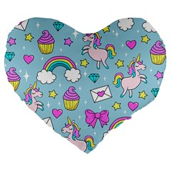 Cute Unicorn Pattern Large 19  Premium Heart Shape Cushions by Valentinaart