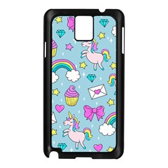 Cute Unicorn Pattern Samsung Galaxy Note 3 N9005 Case (black) by Valentinaart