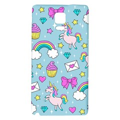 Cute Unicorn Pattern Galaxy Note 4 Back Case by Valentinaart