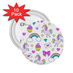 Cute Unicorn Pattern 2 25  Buttons (10 Pack)  by Valentinaart