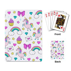 Cute Unicorn Pattern Playing Card by Valentinaart
