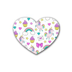 Cute Unicorn Pattern Heart Coaster (4 Pack)  by Valentinaart