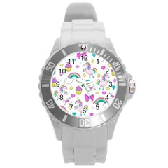 Cute Unicorn Pattern Round Plastic Sport Watch (l)