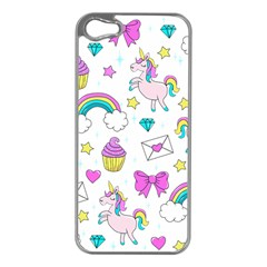 Cute Unicorn Pattern Apple Iphone 5 Case (silver) by Valentinaart