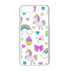 Cute Unicorn Pattern Apple Iphone 7 Plus Seamless Case (white) by Valentinaart