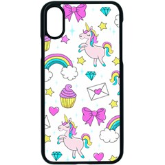 Cute Unicorn Pattern Apple Iphone X Seamless Case (black) by Valentinaart