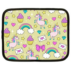 Cute Unicorn Pattern Netbook Case (large) by Valentinaart