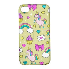 Cute Unicorn Pattern Apple Iphone 4/4s Hardshell Case With Stand