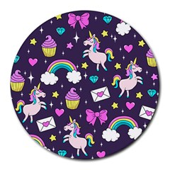 Cute Unicorn Pattern Round Mousepads