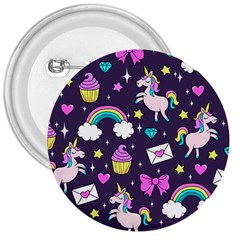 Cute Unicorn Pattern 3  Buttons by Valentinaart