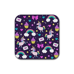 Cute Unicorn Pattern Rubber Square Coaster (4 Pack)  by Valentinaart