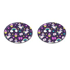 Cute Unicorn Pattern Cufflinks (oval) by Valentinaart