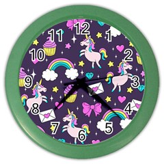 Cute Unicorn Pattern Color Wall Clocks by Valentinaart