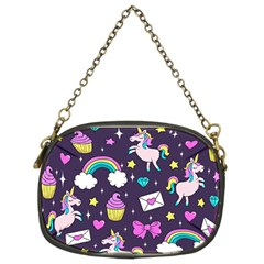Cute Unicorn Pattern Chain Purses (two Sides)  by Valentinaart