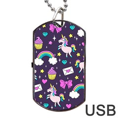 Cute Unicorn Pattern Dog Tag Usb Flash (one Side) by Valentinaart