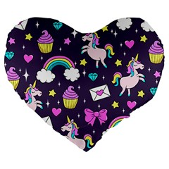 Cute Unicorn Pattern Large 19  Premium Heart Shape Cushions