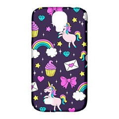 Cute Unicorn Pattern Samsung Galaxy S4 Classic Hardshell Case (pc+silicone) by Valentinaart