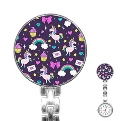 Cute Unicorn Pattern Stainless Steel Nurses Watch by Valentinaart