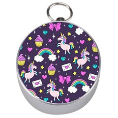 Cute Unicorn Pattern Silver Compasses by Valentinaart