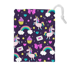 Cute Unicorn Pattern Drawstring Pouches (extra Large) by Valentinaart