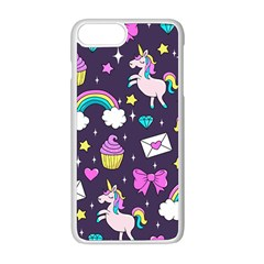 Cute Unicorn Pattern Apple Iphone 8 Plus Seamless Case (white) by Valentinaart