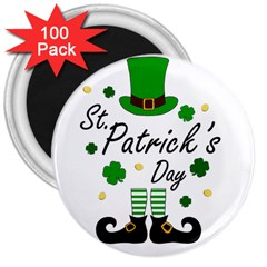 St Patricks Leprechaun 3  Magnets (100 Pack) by Valentinaart