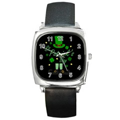 St Patricks Leprechaun Square Metal Watch by Valentinaart