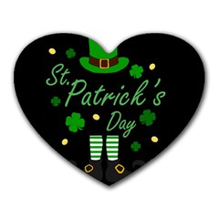 St Patricks Leprechaun Heart Mousepads by Valentinaart