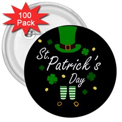 St Patricks Leprechaun 3  Buttons (100 Pack)  by Valentinaart
