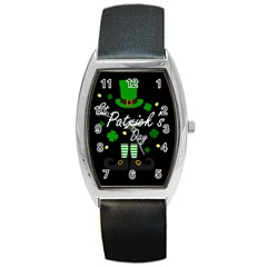 St Patricks Leprechaun Barrel Style Metal Watch