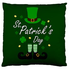 St Patricks Leprechaun Large Flano Cushion Case (one Side)