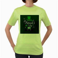 St Patricks Leprechaun Women s Green T Shirt