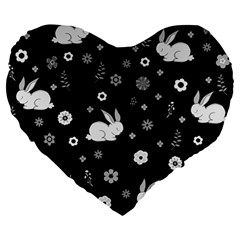 Easter Bunny  Large 19  Premium Heart Shape Cushions