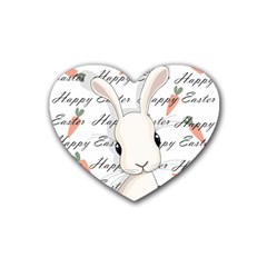 Easter Bunny  Rubber Coaster (heart)  by Valentinaart