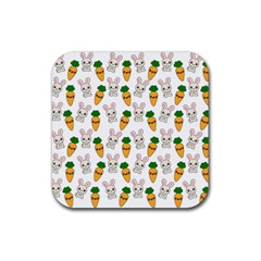 Easter Kawaii Pattern Rubber Square Coaster (4 Pack)  by Valentinaart