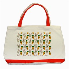 Easter Kawaii Pattern Classic Tote Bag (red) by Valentinaart