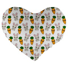 Easter Kawaii Pattern Large 19  Premium Heart Shape Cushions by Valentinaart
