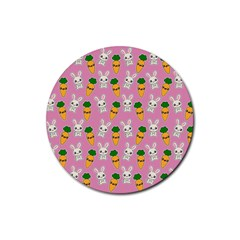 Easter Kawaii Pattern Rubber Round Coaster (4 Pack)  by Valentinaart