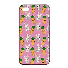 Easter Kawaii Pattern Apple Iphone 4/4s Seamless Case (black) by Valentinaart