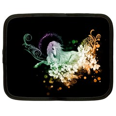 Wonderful Unicorn With Flowers Netbook Case (large) by FantasyWorld7
