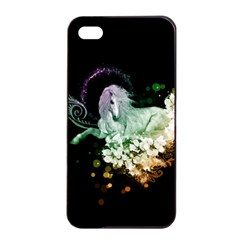 Wonderful Unicorn With Flowers Apple Iphone 4/4s Seamless Case (black) by FantasyWorld7