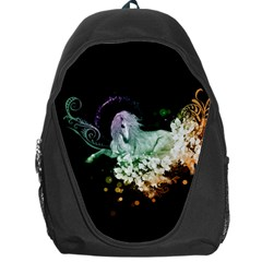 Wonderful Unicorn With Flowers Backpack Bag by FantasyWorld7